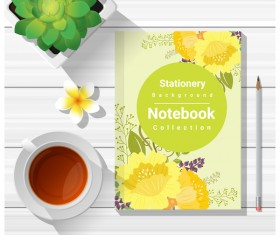 Notebook with wooden table background vector 05