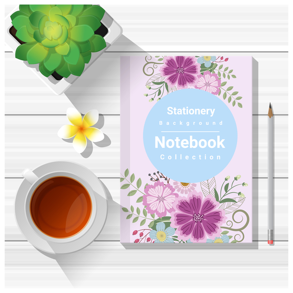 Notebook with wooden table background vector 06
