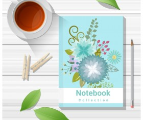 Notebook with wooden table background vector 07