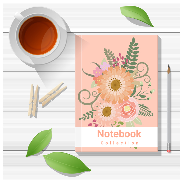 Notebook with wooden table background vector 08