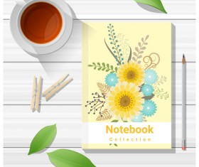 Notebook with wooden table background vector 09