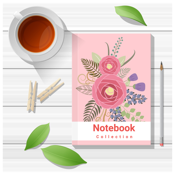 Notebook with wooden table background vector 10