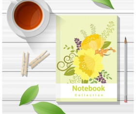 Notebook with wooden table background vector 11