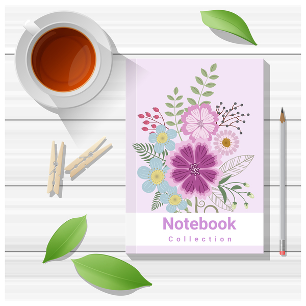 Notebook with wooden table background vector 12