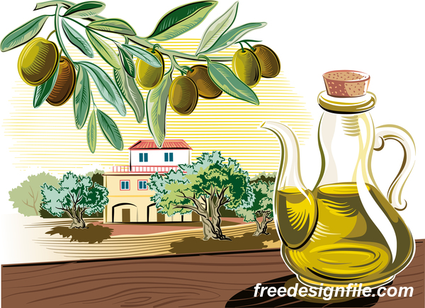 Olive with farm vector
