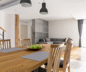Open living room with dining room Stock Photo 03