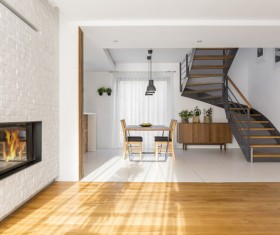Open living room with dining room Stock Photo 04