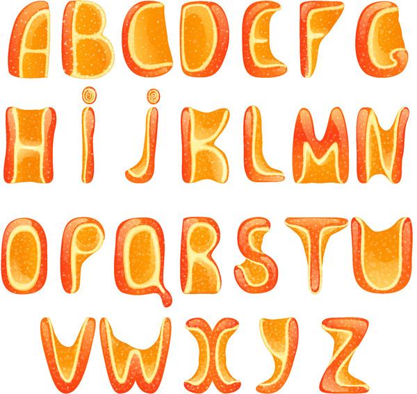 Orange alphabet vecotr