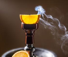 Orange water smoke Stock Photo