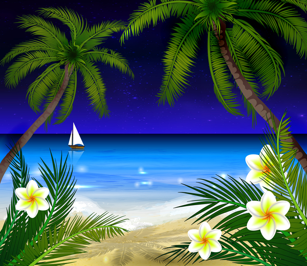 Palm tree with beach and white flower vector 01