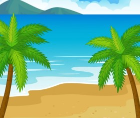 Palm tree with sea vector background