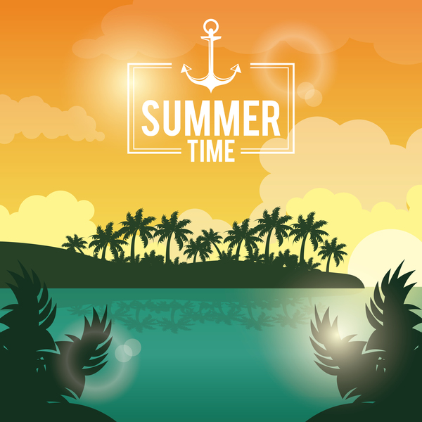 Paradise summer holiday travel poster vector 01