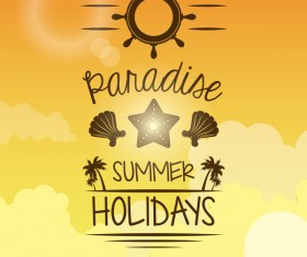 Paradise summer holiday travel poster vector 03