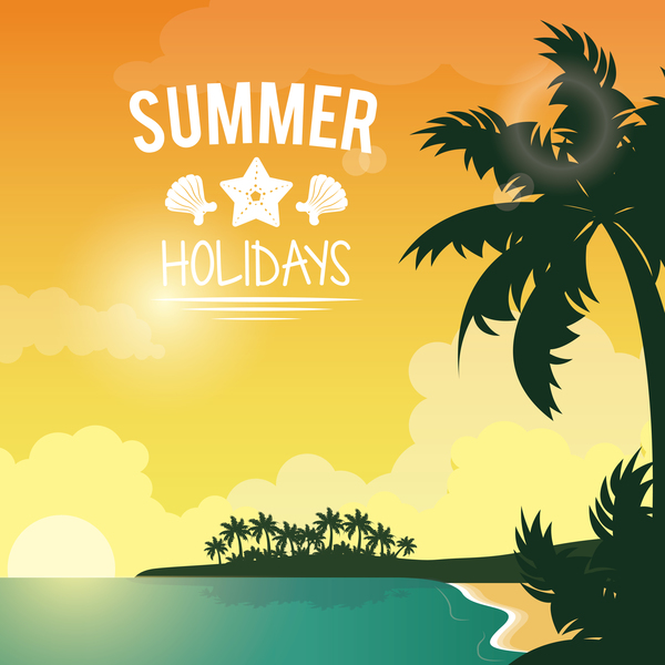 Paradise summer holiday travel poster vector 04