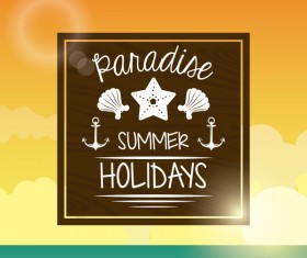 Paradise summer holiday travel poster vector 06