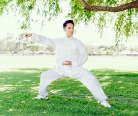 People practicing tai chi in park HD picture 01