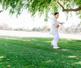 People practicing tai chi in park HD picture 14