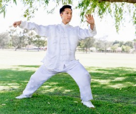 People practicing tai chi in park HD picture 15