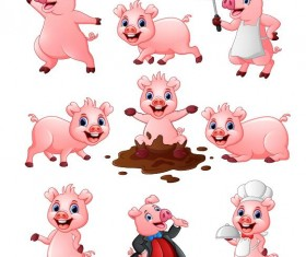 Pig cartoon character cute vector