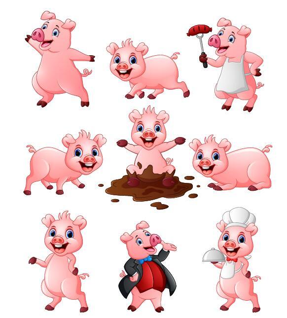 Pig cartoon character cute vector