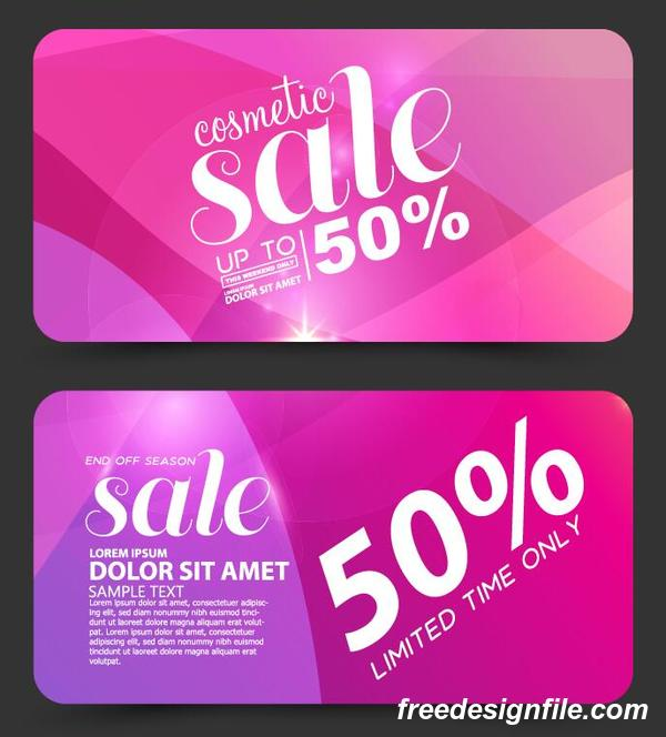 Pink cosmetic discounts card vector