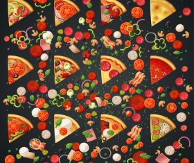 Pizza and ingredients vector