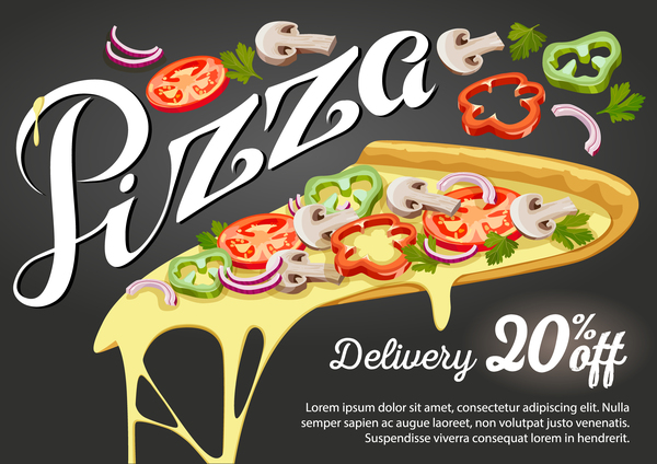 Pizza discount poster vector material 01