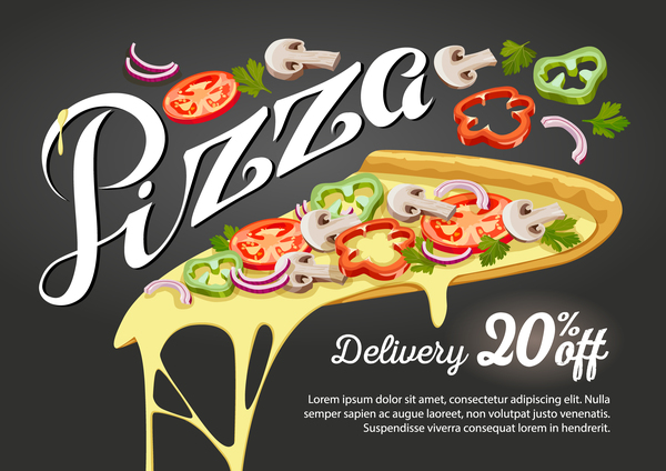 Pizza discount poster vector material 02