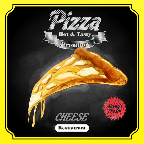 Pizza poster with blackboard background vector 01