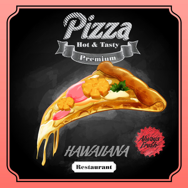 Pizza poster with blackboard background vector 02