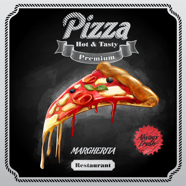 Pizza poster with blackboard background vector 03