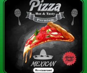 Pizza poster with blackboard background vector 04