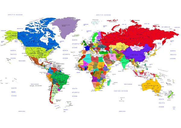 Political map of the world vector design
