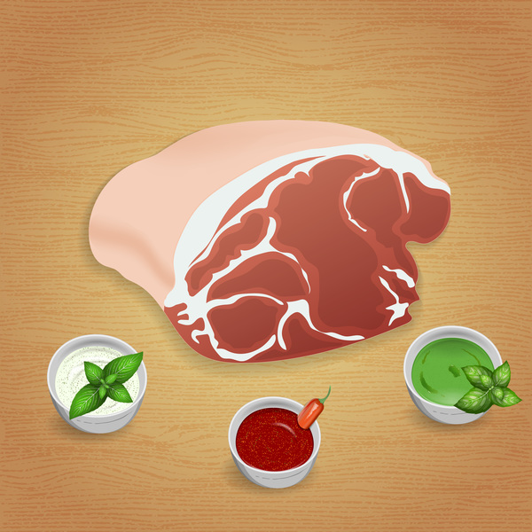 Pork with sauces and spices vector 01