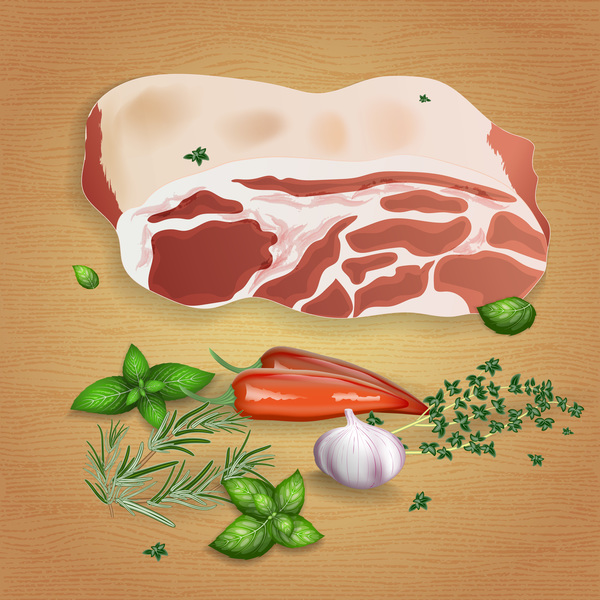 Pork with sauces and spices vector 02