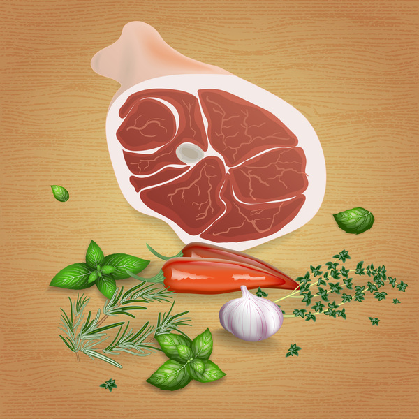 Pork with sauces and spices vector 03