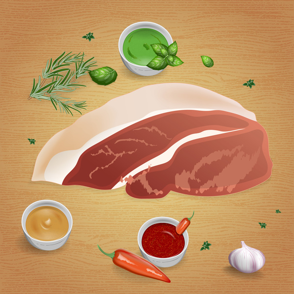 Pork with sauces and spices vector 05
