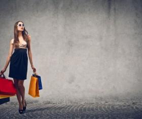 Portable shopping bag fashionable woman Stock Photo
