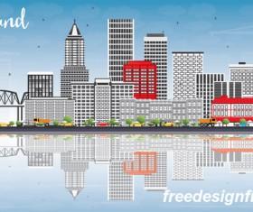 Portland city landscape vectors