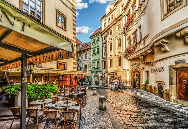 Prague street painting Stock Photo