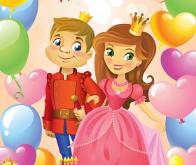 Prince and princess with happy birthday backgroud vector 02