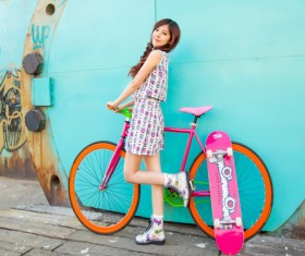 Pure and beautiful girl with cycling HD picture