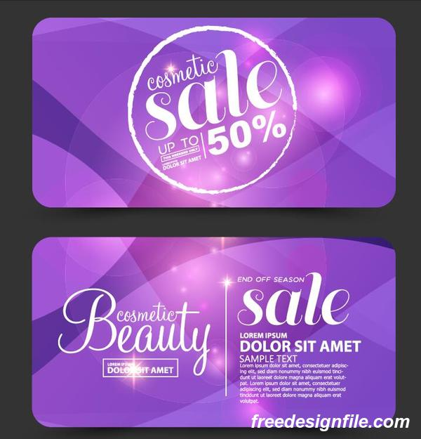 Purple cosmetic discounts card vector