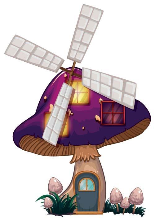Purple mushroom house windmill vector