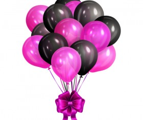 Purple with black balloon and purple bow vector