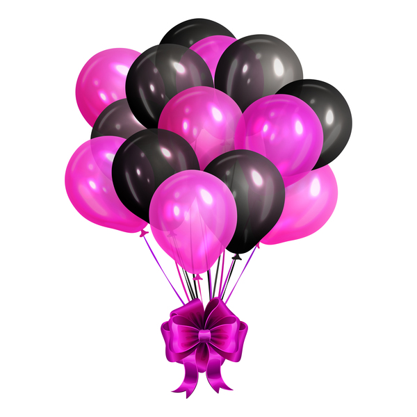 Bunch of realistic black and pink helium balloons isolated on wh