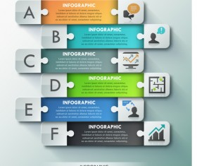 Puzzle banners with infographic template vector