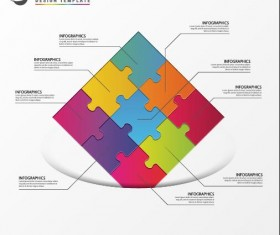 Puzzle with white infographic vector 01