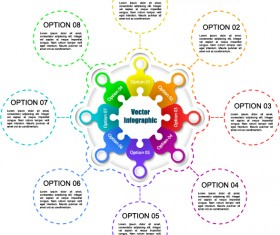 Puzzle with white infographic vector 02