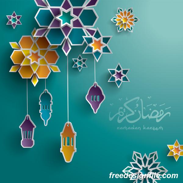 Ramadan background with colored decor vector - Vector